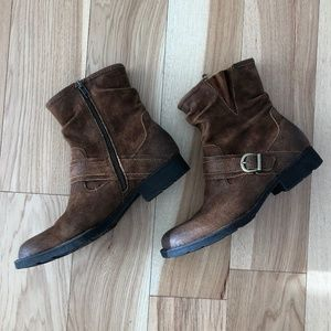 Born Mid Zip Distressed Leather Boot, Size 10M